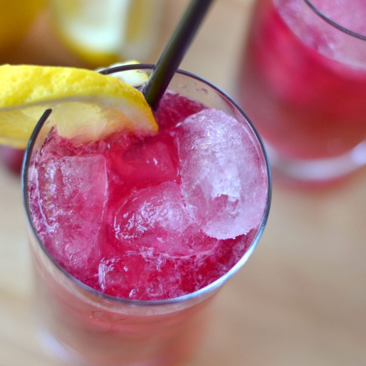 sparkling grape lemonade closeup