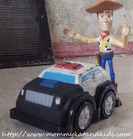 woody and a police car