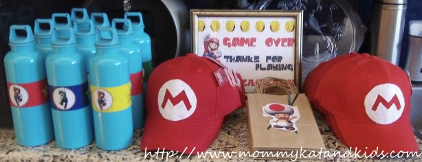 super mario hats water bottles and treat bags