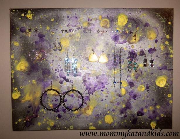 painted canvas earring holder