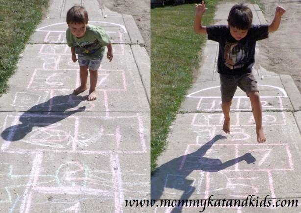 boys playing hopscotch