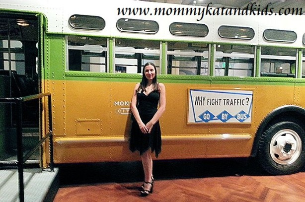 kat in front of rosa parks bus henry ford