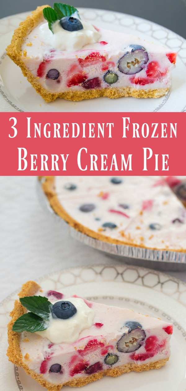Frozen Berry Cream Pie! This easy ice cream pie whips up in just minutes with only 3 ingredients! Try it with a mix of your favourite berries, either fresh or frozen, and then treat your guests to a deliciously cool dessert!
