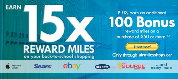 air miles bonus back to school event