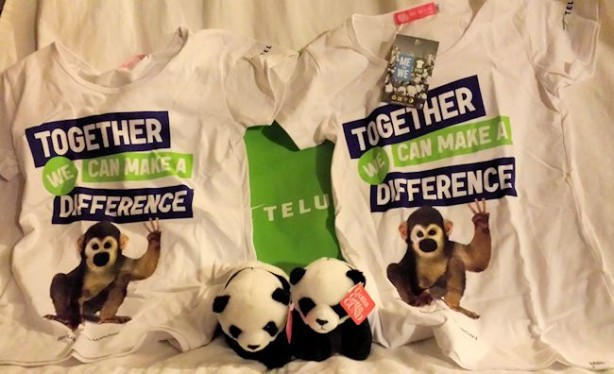 telus we day shirts and toys