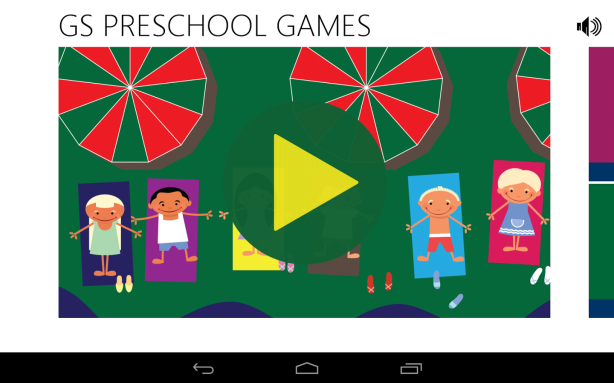 gs preschool games home screen