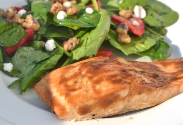 maple salmon and strawberry salad