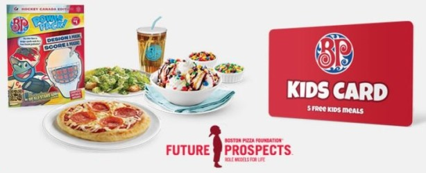 boston pizza kids card meal
