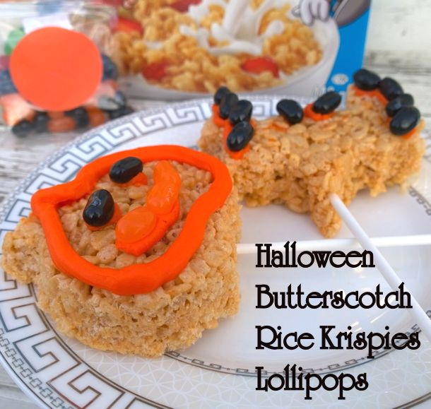 butterscotch rice krispies lollipops