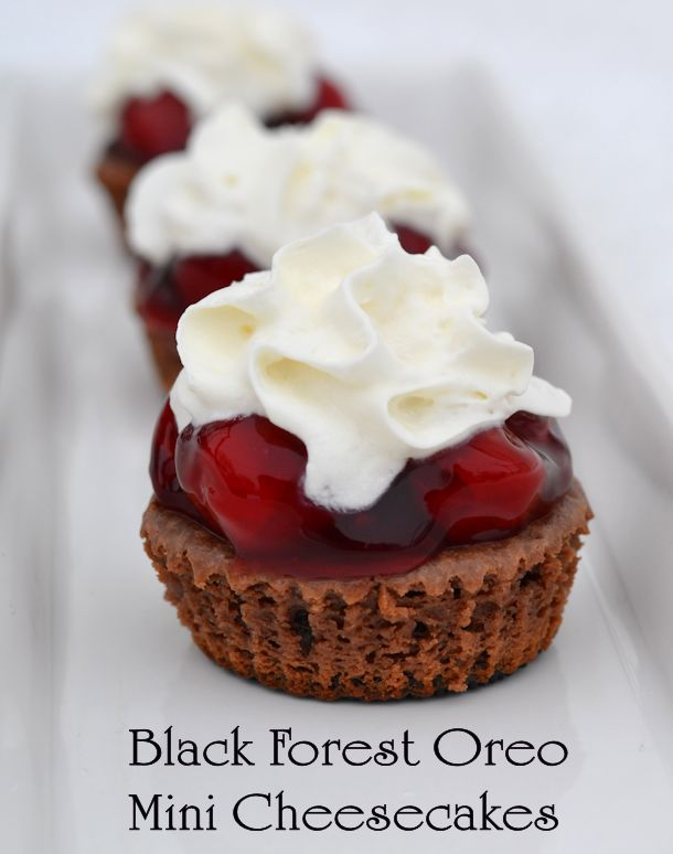 black forest oreo mini cheesecakes