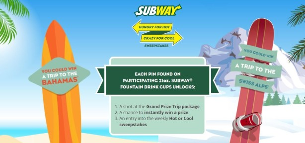 subway hot cool sweepstakes