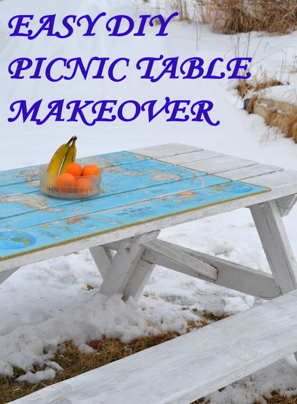 Easy DIY Paper Covered Picnic Table Makeover