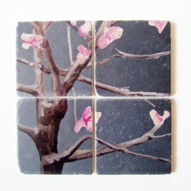 india & purry coasters pink flowers