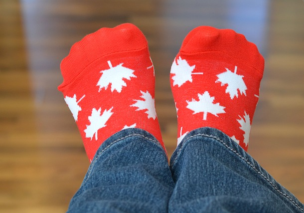good luck sock canada maple leaf
