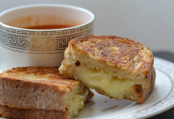 gourmet grilled cheese closeup