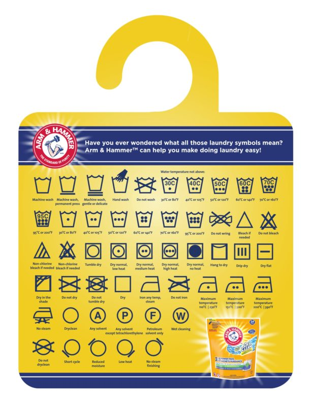 arm & hammer downloadable laundry care tag