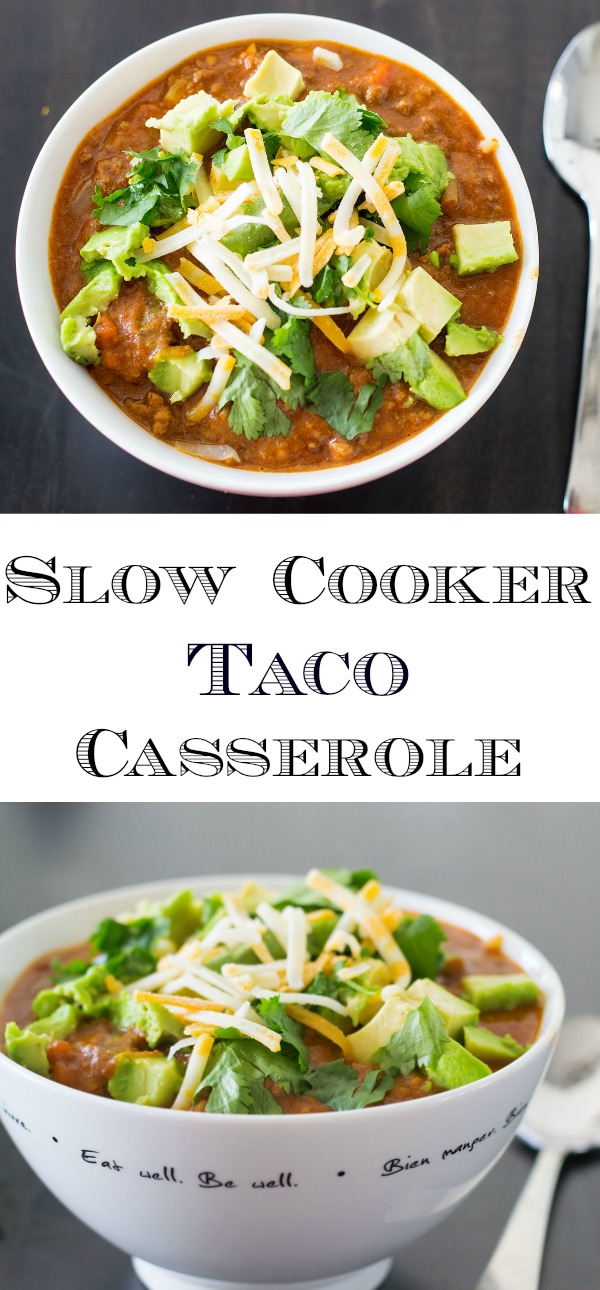 Easy and Delicious Slow Cooker Taco Casserole! Perfect for a busy weekday, and can also be made in an Instant Pot! If your family loves tacos but you're short on time, this recipe will be your new favourite!